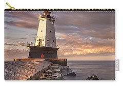 Carry-all Pouch featuring the photograph Ludington North Breakwater Light At Dawn by Adam Romanowicz