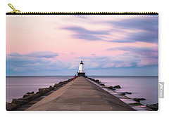 Carry-all Pouch featuring the photograph Ludington North Breakwater Light Sunrise by Adam Romanowicz