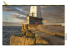 Carry-all Pouch featuring the photograph Ludington North Breakwater Lighthouse At Sunrise by Adam Romanowicz