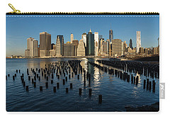 Luminous Blue Silver And Gold - Manhattan Skyline And East River Carry-all Pouch