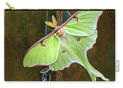 Carry-all Pouch featuring the digital art Luna Moth by Thanh Thuy Nguyen