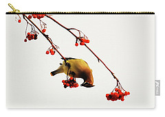 Lunchtime - Cedar Waxwing Carry-all Pouch by Andrea Kollo