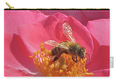 Carry-all Pouch featuring the photograph Luscious Rose With A Bee by Nancy Lee Moran