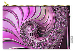 Carry-all Pouch featuring the digital art Luxe Pink Fractal Spiral by Matthias Hauser