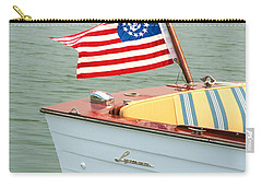 Vintage Mahogany Lyman Runabout Boat With Navy Flag Carry-all Pouch