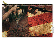 M1 Carbine On American Flag Carry-all Pouch