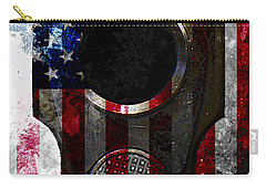 M1911 Colt 45 Muzzle And American Flag On Distressed Metal Sheet Carry-all Pouch