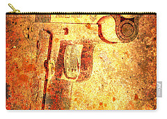 M1911 Muzzle On Rusted Background 3/4 View Carry-all Pouch
