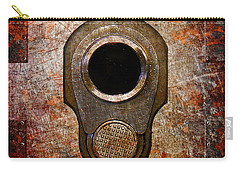 M1911 Muzzle On Rusted Riveted Metal Carry-all Pouch