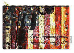 M1911 Pistol And Second Amendment On Rusted American Flag Carry-all Pouch