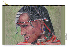 Maasai Warrior II -- Portrait Of African Tribal Man Carry-all Pouch