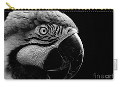 Macaw Parrot Portrait Black And White Carry-all Pouch