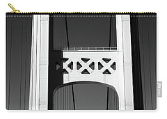 Mackinac Bridge Detail 2 High Contrast Bw Carry-all Pouch by Mary Bedy