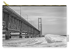 Carry-all Pouch featuring the photograph Mackinac Bridge Icy Black And White  by John McGraw