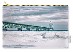 Carry-all Pouch featuring the photograph Mackinac Bridge In Winter During Day by John McGraw