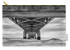Carry-all Pouch featuring the photograph Mackinac Bridge In Winter Underneath  by John McGraw