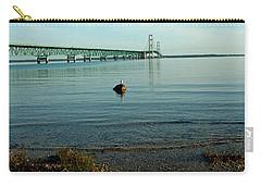 Carry-all Pouch featuring the photograph Mackinac Bridge Michigan by LeeAnn McLaneGoetz McLaneGoetzStudioLLCcom