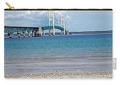 Carry-all Pouch featuring the photograph Mackinac Bridge Path To Lake by LeeAnn McLaneGoetz McLaneGoetzStudioLLCcom