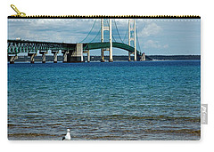 Carry-all Pouch featuring the photograph Mackinac Bridge Private Seagull Beach by LeeAnn McLaneGoetz McLaneGoetzStudioLLCcom