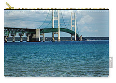 Carry-all Pouch featuring the photograph Mackinac Bridge With Seagull by LeeAnn McLaneGoetz McLaneGoetzStudioLLCcom