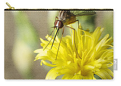 Macro Photography Of A Mosquito Over A Lettuce Flower Carry-all Pouch by Claudia Ellis