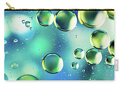 Carry-all Pouch featuring the photograph Macro Water Droplets Aquamarine Soft Green Citron And Blue by Sharon Mau