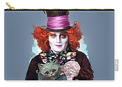 Mad Hatter And Cheshire Cat Carry-all Pouch by Melanie D