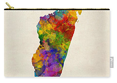 Carry-all Pouch featuring the digital art Madagascar Watercolor Map by Michael Tompsett