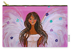 Carry-all Pouch featuring the painting Pink Angel Of Life by Pristine Cartera Turkus