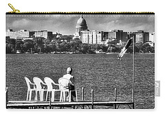 Madison Capitol Across Lake Mendota - Black And White Carry-all Pouch