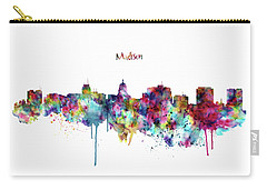 Carry-all Pouch featuring the mixed media Madison Skyline Silhouette by Marian Voicu