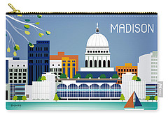 Madison Wisconsin Horizontal Skyline Carry-all Pouch by Karen Young