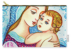 Carry-all Pouch featuring the painting Madonna And Child In Blue by Eva Campbell