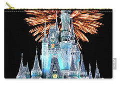 Magic Kingdom Castle In Frosty Light Blue With Fireworks 02 Mp Carry-all Pouch