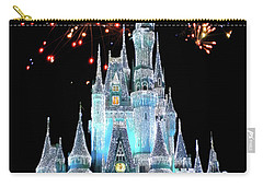 Magic Kingdom Castle In Frosty Light Blue With Fireworks 03 Mp Carry-all Pouch