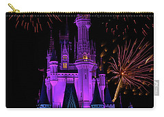 Magic Kingdom Castle In Purple With Fireworks 02 Pm Carry-all Pouch