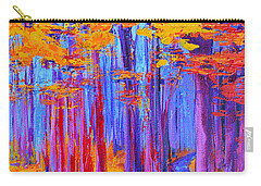 Carry-all Pouch featuring the painting Magical Path - Enchanted Forest Collection - Modern Impressionist Landscape Art - Palette Knife Work by Patricia Awapara