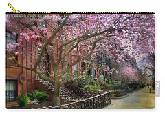 Carry-all Pouch featuring the photograph Magnolia Trees In Spring - Back Bay Boston by Joann Vitali