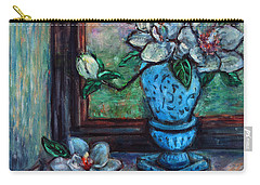 Carry-all Pouch featuring the painting Magnolias In A Blue Vase By The Window by Xueling Zou
