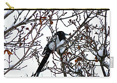 Carry-all Pouch featuring the photograph Magpie In A Snowstorm by Will Borden