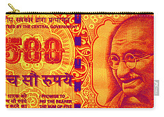 Carry-all Pouch featuring the digital art Mahatma Gandhi 500 Rupees Banknote by Jean luc Comperat
