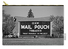 Carry-all Pouch featuring the photograph Mail Pouch Tobacco In Black And White by Michiale Schneider