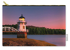 Carry-all Pouch featuring the photograph Maine Doubling Point Lighthouse In New Brunswick On Kennebeck River Sunset by Ranjay Mitra