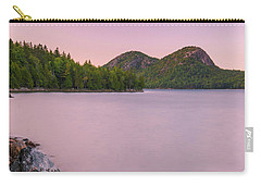 Carry-all Pouch featuring the photograph Maine Jordan Pond Bubble Mountain Sunset In Acadia National Park by Ranjay Mitra
