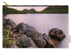 Carry-all Pouch featuring the photograph Maine Jordan Pond Bubble Mountain Sunset by Ranjay Mitra