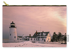 Carry-all Pouch featuring the photograph Maine Pemaquid Lighthouse After Winter Snow Storm by Ranjay Mitra