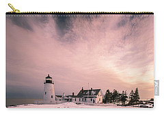 Carry-all Pouch featuring the photograph Maine Pemaquid Lighthouse Sunset After Winter Storm by Ranjay Mitra