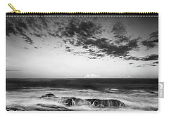 Carry-all Pouch featuring the photograph Maine Rocky Coast With Boulders And Clouds At Two Lights Park by Ranjay Mitra