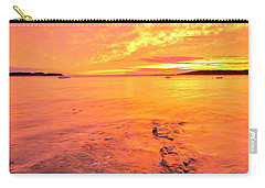 Carry-all Pouch featuring the photograph Maine Rocky Coastal Sunset At Kettle Cove by Ranjay Mitra