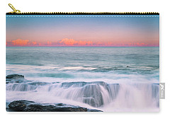 Carry-all Pouch featuring the photograph Maine Rocky Coastal Sunset Panorama by Ranjay Mitra